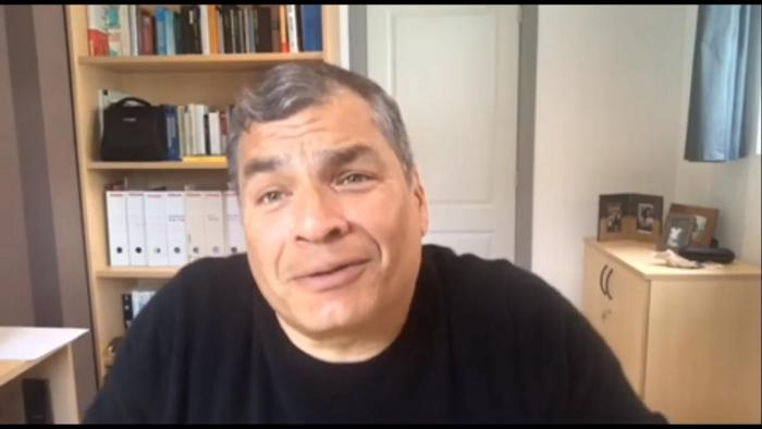 Rafael Correa en un programa por la libertad de Jorge Glas.