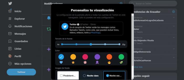 Twitter modo oscuro