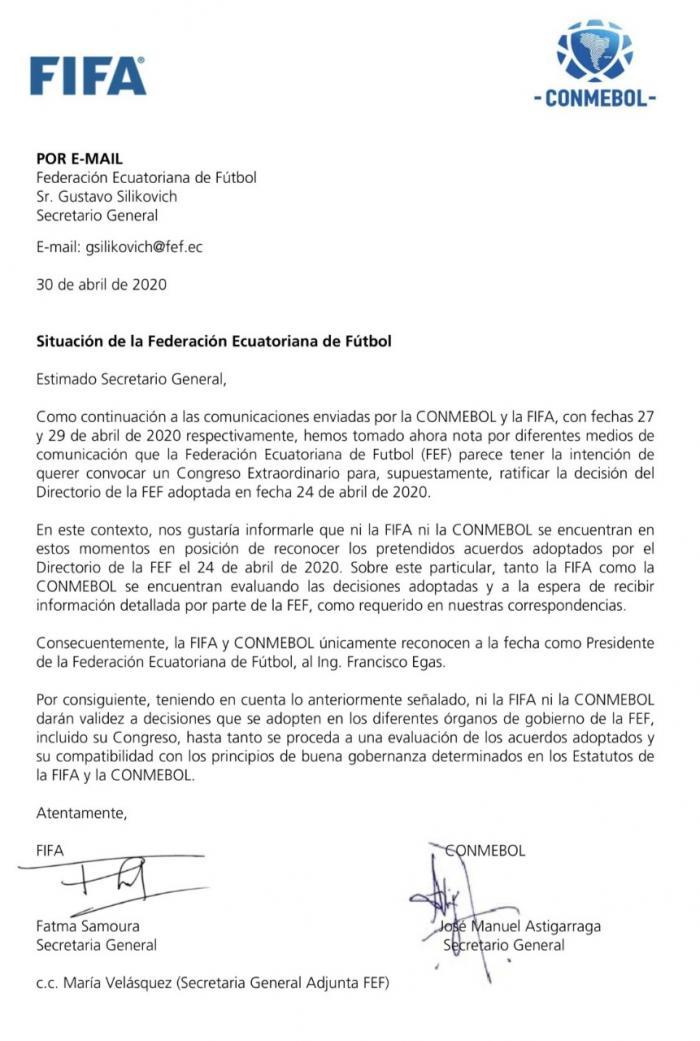 Comunicado de la FIFA y Conmebol