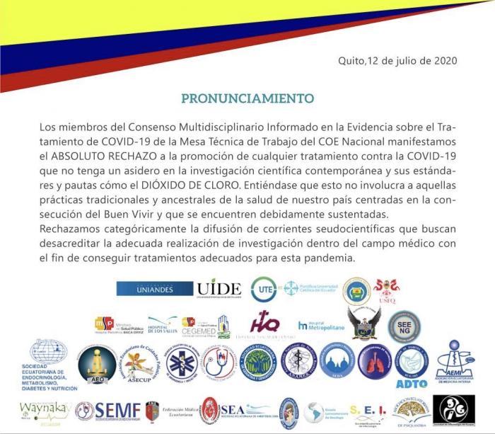 Comunicado del Consenso Multidisciplinario de apoyo al COE Nacional