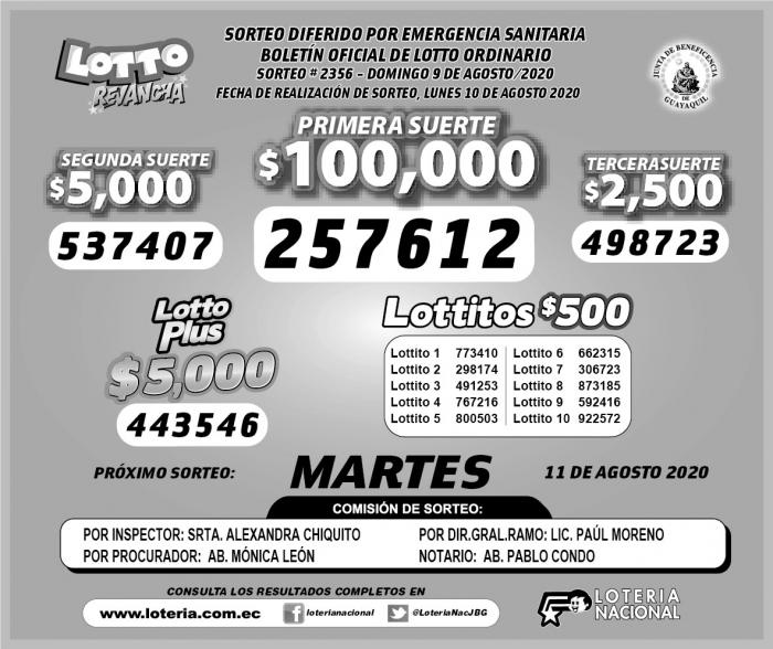 lotto domingo 9 de agosto