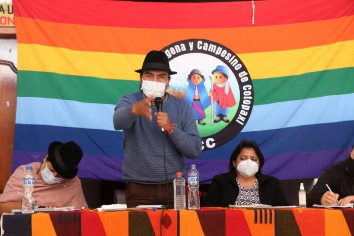 Rueda de prensa del movimiento indígena de Cotopaxi, para deponer la precandidatura de Leonidas Iza, 14 ago. 2020.