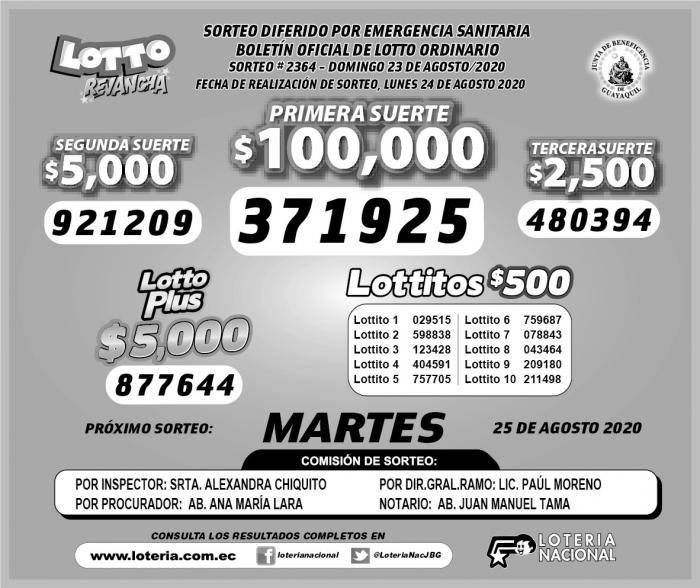 LOTTO DOMINGO 23 DE AGOSTO