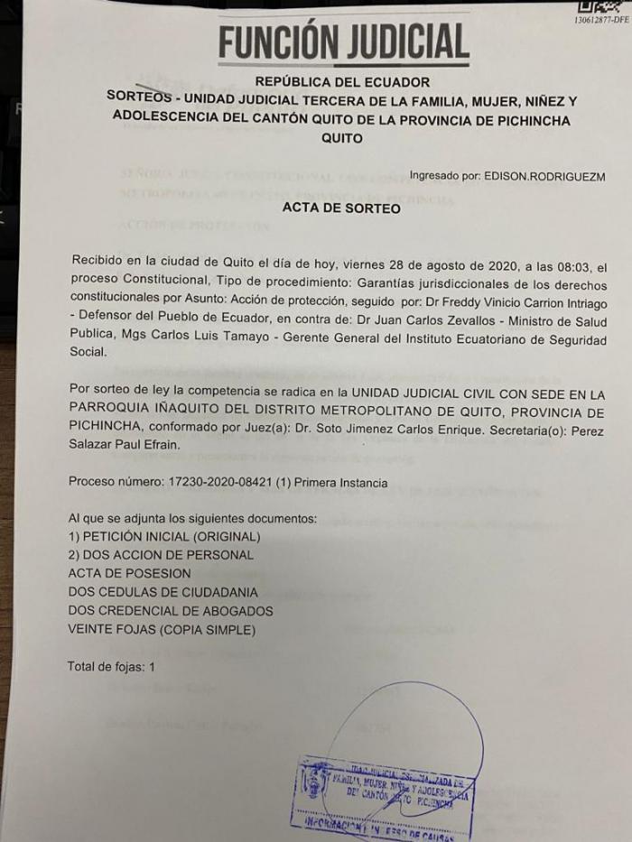 El acta de sorteo de la denuncia presentada por la Defensoría del Pueblo.