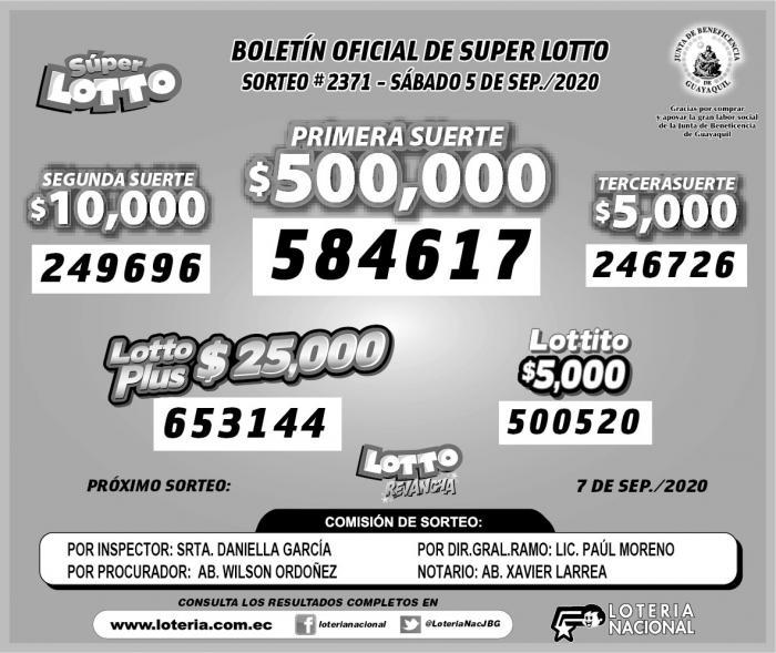 lotto sabado 5 de septiembre