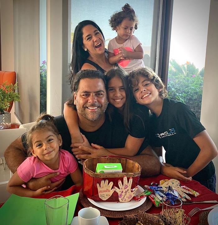 Flor María Palomeque y su familia.
