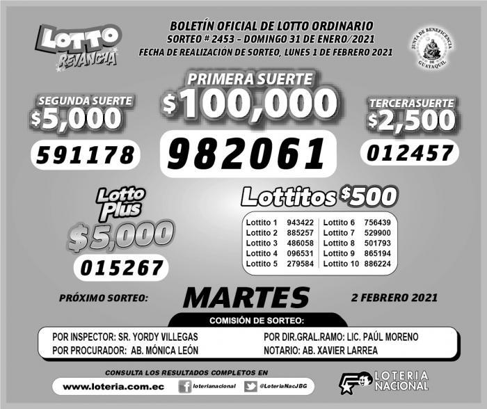 lotto domingo 31 de enero