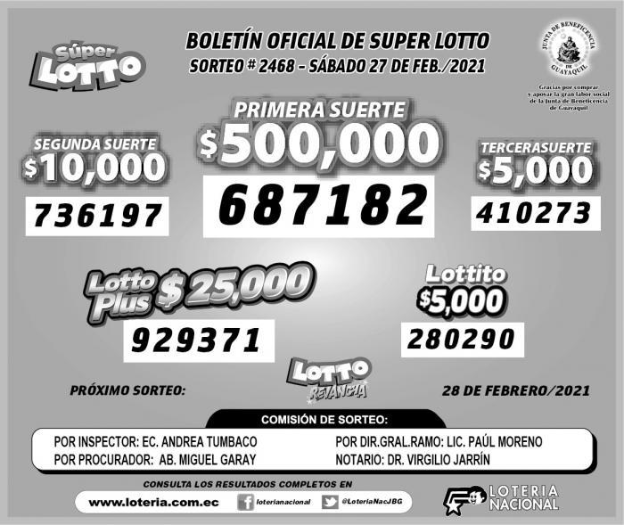 Lotto 27 de feberero