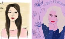 Ilustraciones sobre Ingrid Escamilla, víctima de femicidio en México. Febrero 2020. Cortesía.
