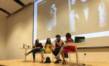 Gabriela Silva (izquierda) y Adelaida Jaramillo, de Palabralab conversaron con Mónica Ojeda y María Fernanda Ampuero (centro).
