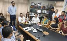 La cita. Cerca de una hora duró el encuentro que el alcalde Jaime Nebot mantuvo con voceros de los colectivos de ciclistas de la ciudad.