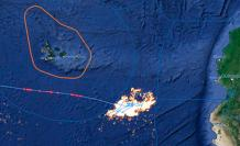 Foto satelital de la flota china de pesca