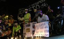 Ciclistas organizaron un plantón para pedir justicia por la muerte de Santiago Jaramillo.