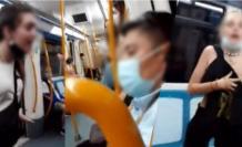 Escenas del video en el que se registró el acto racista contra tres personas en el Metro de Madrid, España.