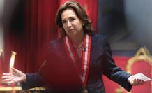 La jueza suprema Elvia Barrios fue registrada este lunes, durante su asunción como presidenta del Poder Judicial de Perú, en el Palacio de Justicia de Lima (Perú