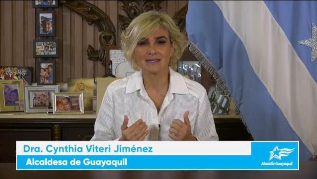 La alcaldesa de Guayaquil, Cynthia Viteri, en su video de hoy.