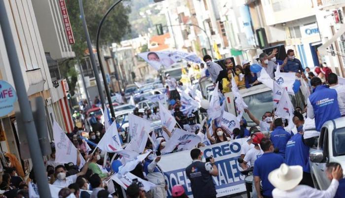 Caravana de Guillermo Lasso el primer día de campaña electoral, 31 dic. 20