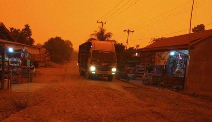 cielo rojo indonesia incendios forestales