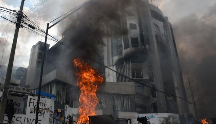 incendio contraloria protestas paro
