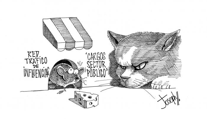 caricatura expreso red tráfico influencias
