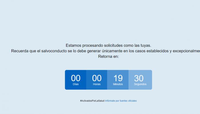 Captura de imagen del sitio web habilitado por el Gobierno Nacional para la obtención de salvoconductos durante la emergencia del coronavirus en Ecuador.