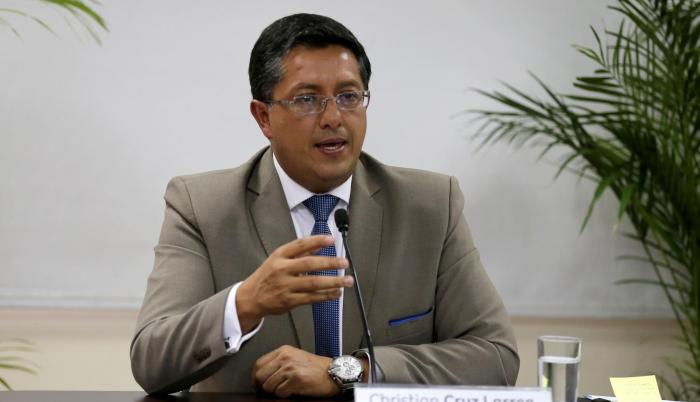 Rueda de prensa de Christian Cruz, actual presidente del Cpccs.