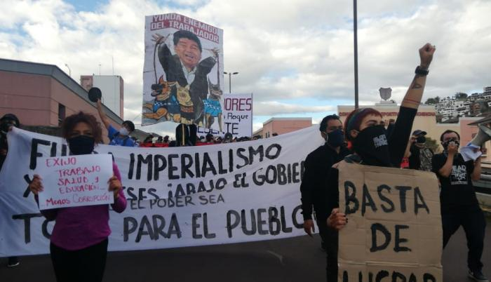 Sectores sociales marchan hoy, 16 de julio, en el centro de Quito.