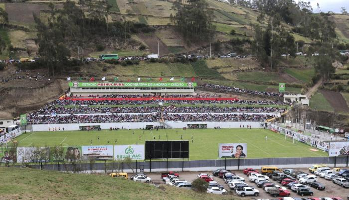 Inauguración del estadio Mushuc Runa con el partido ante Orense, el pasado 17 de noviembre de 2018.