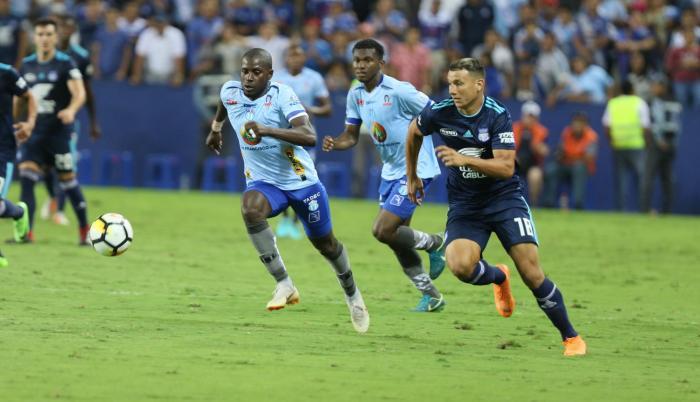 Los goles azules fueron anotados por Bryan Angulo, en dos ocasiones (min 61 y 70), y el tercero definitivo fue del debutante Byron Palacios (foto) en los 90+3, ocaso del encuentro.