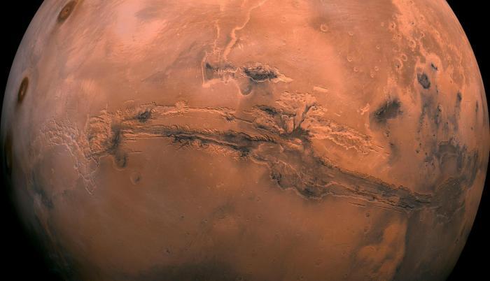 Fotografía cedida por el Servicio Geológico de Estados Unidos (USGS), que muestra el planeta Marte.