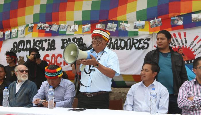 Según Jaime Vargas (cen), presidente de la Conaie, la reforma sobre la repartición del espectro radioeléctrico, va contra los derechos de los pueblos indígenas y contra la democracia.