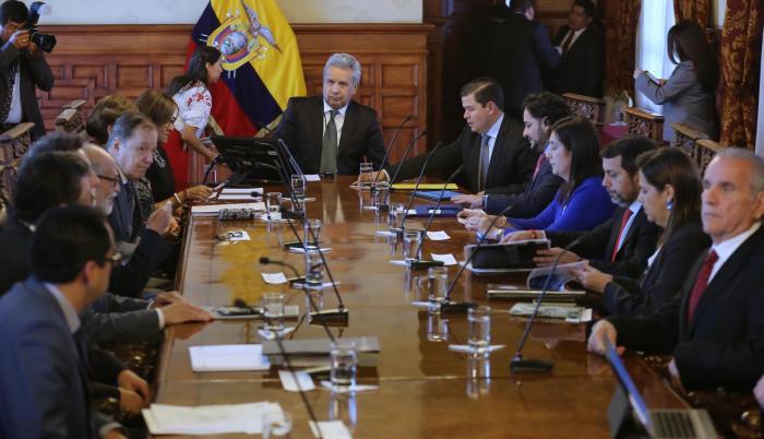 Acciones. La cita entre el presidente Moreno y las funciones del Estado duró cerca de cuatro horas.