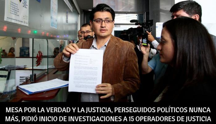 El presidente de la Mesa, Paúl Jácome, presentó la petición en un escrito que pide que se inicie una investigación de oficio contra 15 jueces de la Corte Nacional de Justicia (CNJ) de Ecuador