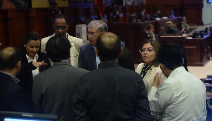 Correísmo. Aunque no era esperada, la legisladora Sofía Espín llegó para afrontar el proceso en su contra.