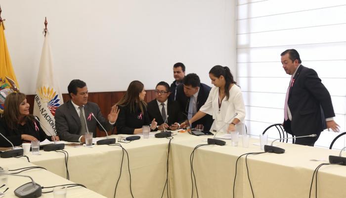 Comisión. Noralma Zambrano, Eliseo Azuero y Ana Galarza recibieron ayer a Fabricio Villamar en la comisión que investiga a la legisladora oficialista Norma Vallejo.
