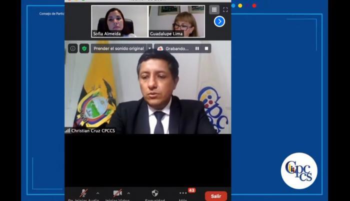 Sesión del Consejo de Participación Ciudadan. Preside Christian Cruz.