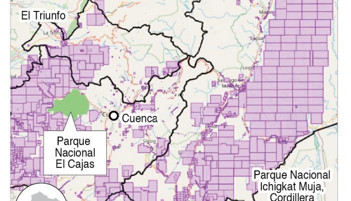 Concesiones mineras en Azuay, Cañar y Morona Santiago