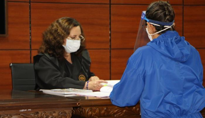 La jueza Daniella Camacho, durante la audiencia de formulación de cargos.