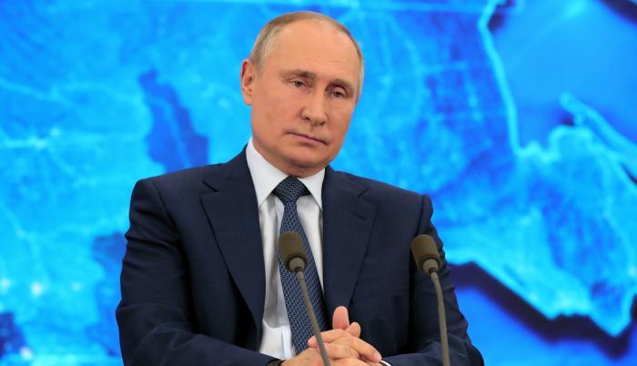El presidente de Rusia, Vladímir Putin, en su tradicional rueda de prensa anual, que este año ha sido telemática por la pandemia de coronavirus.
