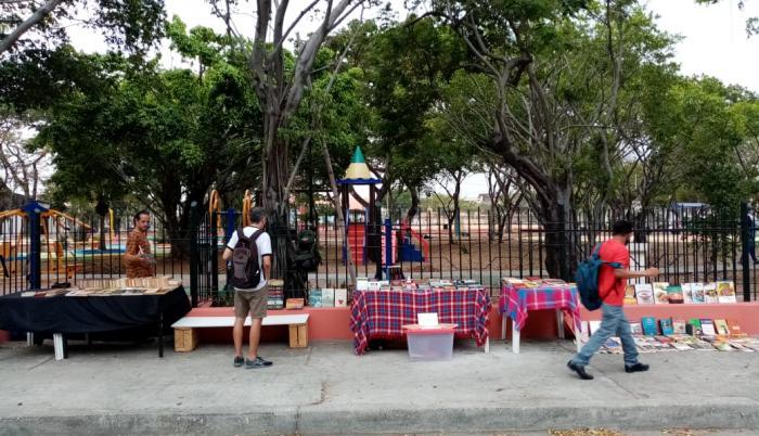 La feria se realiza al aire libre, en el parque central de la FAE.