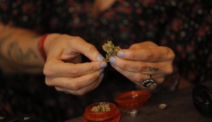 Fotografía fechada el 14 de diciembre de 2020 de la actriz, comunicadora y activista Francesca Brivio mientras enseña una muestra de cannabis durante una entrevista con Efe en Lima (Perú).