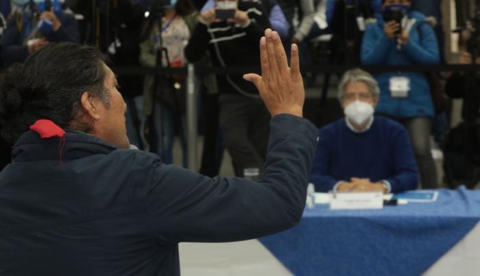 Los candidatos Yaku Pérez y Guillermo Lasso se reúnen en el CNE, 12 feb. 21
