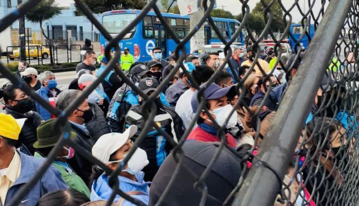 En el estadio de la Federación de Ligas de Quito se detectaron aglomeraciones.