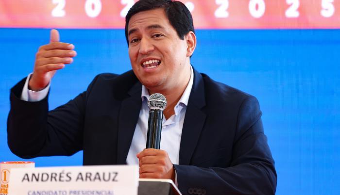 En la imagen, el candidato correísta a la Presidencia ecuatoriana, Andrés Arauz.
